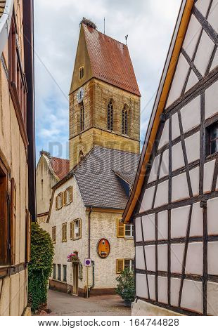 View of Church Saints Peter and Paul tower in Eguisheim Alsace France