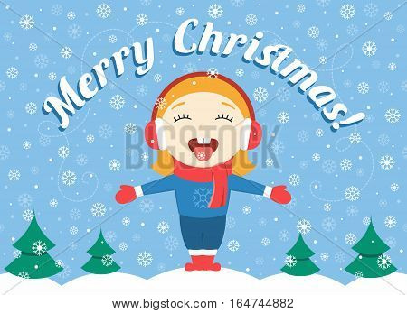 flat design vector illustration of cute little girl standing in the park on a winter day catching snowflakes and text