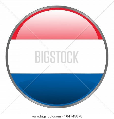 Netherlands Holland Dutch Flag. Round Glossy Isolated Vector Icon With National Flag Of Netherlands