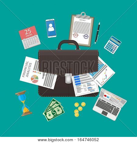 leather briefcase and business items, management or finance workflow. vector illustration in flat style