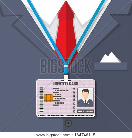 man suit with red tie and id badge. vector illustration in flat style