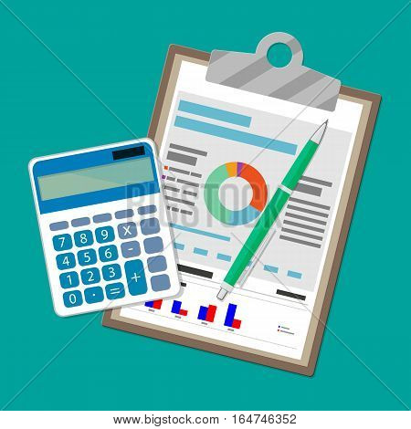 Spreadsheet concept. clipboard with financial reports, calculator and pen. vector illustration in flat design