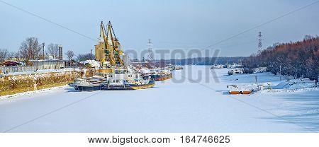 Winter scene. Danube river arm, Plants channel, Giurgiu city, Romania.