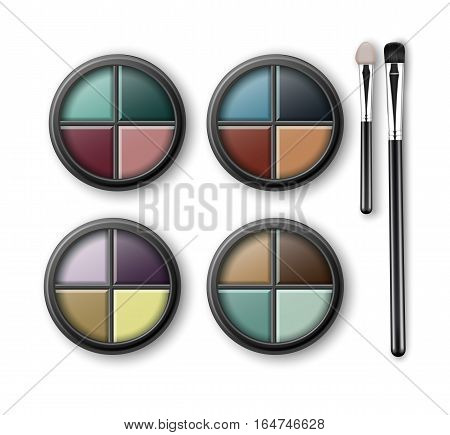 Vector Set of MultiColored Light Blue Pink Brown Violet Yellow Turquoise Ocher Green Vinous Eye Shadows in Round Black Transparent Plastic Case with Makeup Brushes Applicators Isolated on Background.