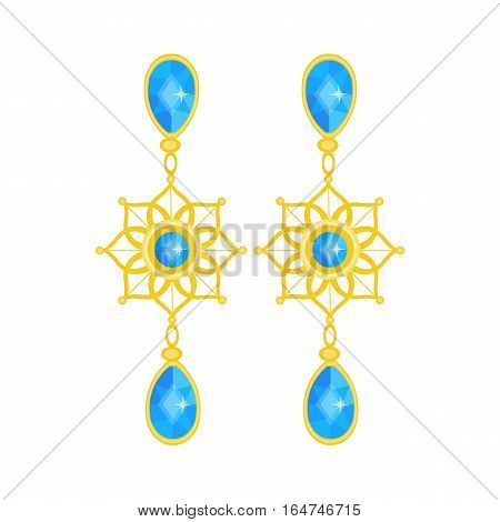 Precious jewelry. Gemstone and gold . Vector illustration of earrings. Precious accessory for women. Flat cartoon style
