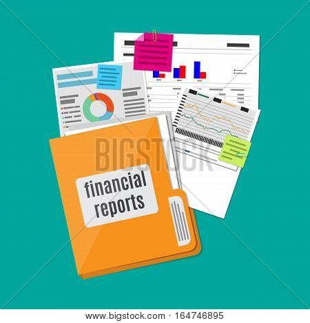 clipboard with financial reports. vector illustration in flat design