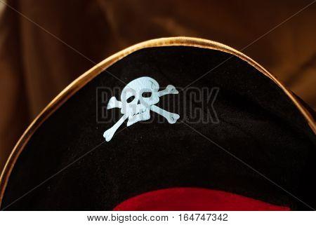 Pirate Hat, Black Hat, White Skull,