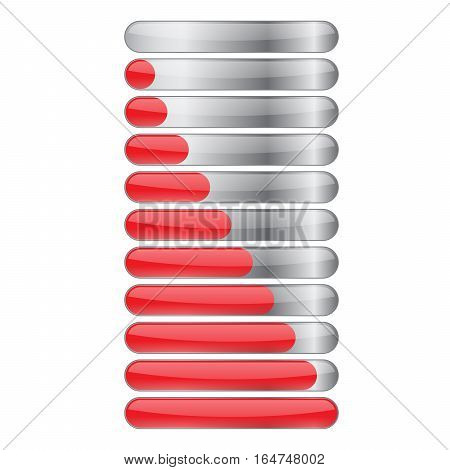 Red gloss glow glass colorful Loading bar element icon. Users completion indicator. Cluster lines. Uploading speed symbol. Internet page progress. Progress loading bar.