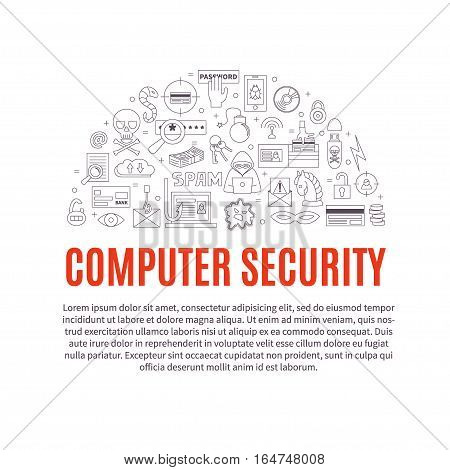 Hacking and cyber crime - vector template with icons of gadgets and hacker's activities, title and place for your text. Linear style. For web and paper ads. Computer security illustration.