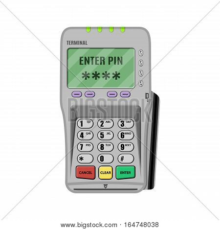 POS Terminal, pinpad. vector illustration in flat style