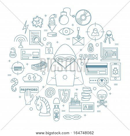 Hacking and cyber crime - linear round vector template with icons of gadgets, hacker's activities, cracking and fraud, spam, viruses  etc. Illustration for hacker attack or computer security.