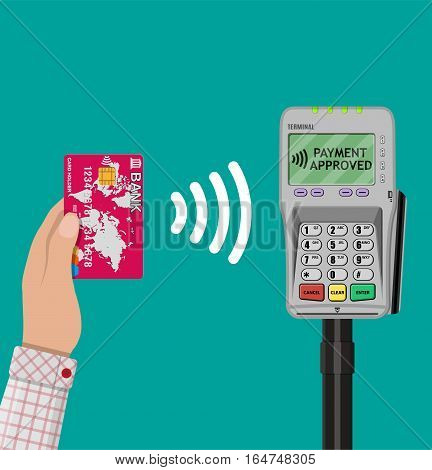 Human hand with plastic card bank and pos terminal. nfc payments concept, near field communication technology. vector illustration in flat design on green background