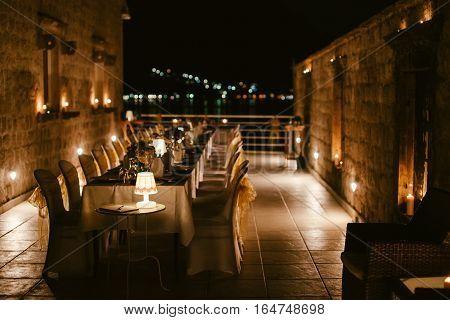 evening restaurant party reception. Party banquet. Wedding reception