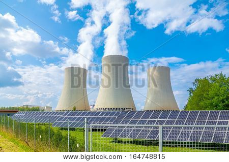Thermal power plant with solar panels in Czech Republic Europe