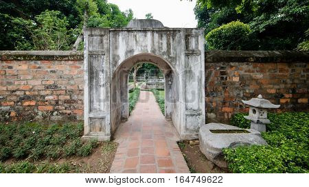 HA NOI, VIET NAM, November 30, 2015:  A gate from historic Confucius Temple,The Temple of literature, the center of Hanoi, Vietnam