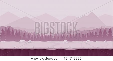 Fantasy cartoon landscape, seamless nature background for game design, layered illustration for parallax effect