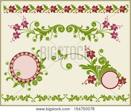 Floral frame and border . Vector illustration.