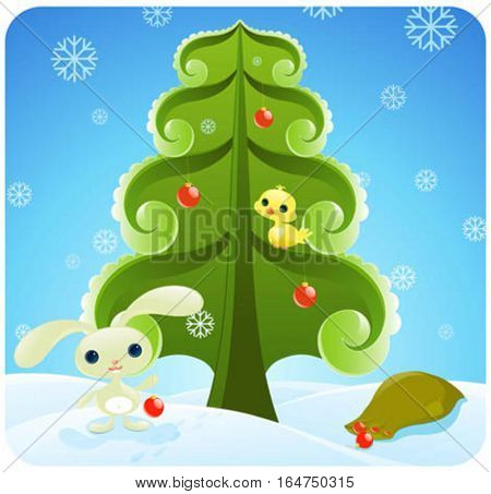 Pretty Christmas illustration with cute baby animals.