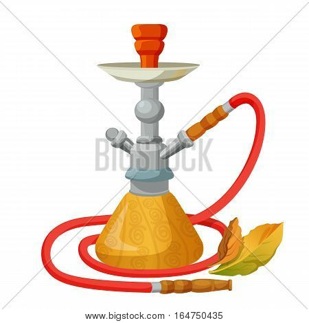 Hookah calabash with one long red pipe isolated on white. Single stemmed instrument for vaporizing and smoking flavored tobacco called shisha or cannabis. Smoke passed through water basin