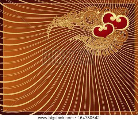 Golden Valentine background with Hearts.  Vector illustration.
