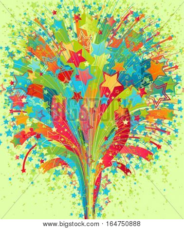 Fireworks background. Beautiful vector illustration.