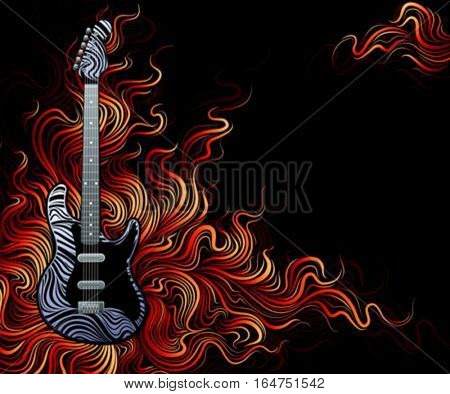 Guitar is on fire. Vector illustration.