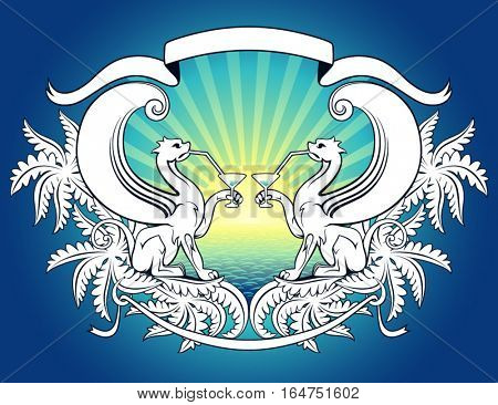 Winged lions. Vector illustration.