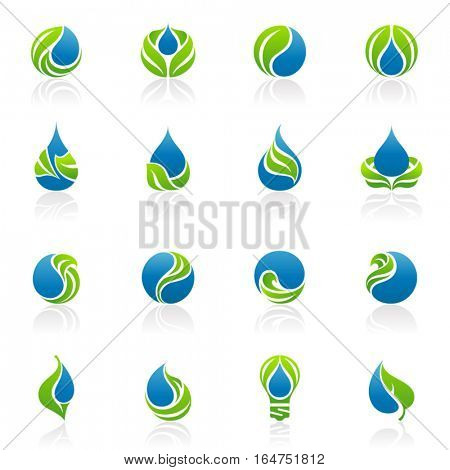 Drops and leaves. Elements for design. Vector illustration.