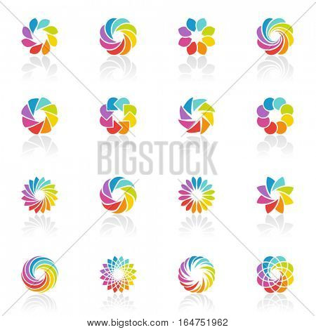 Spectral fantasies. Abstract colorful  icons. Vector illustration.