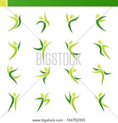 Abstract human figures in action. Vector logo template set. Elements for design. Icon set.