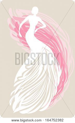 Bride mannequin in feather wedding dress. Vector illustration.