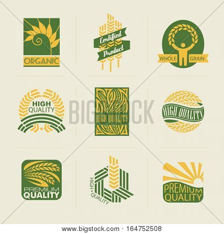 Wheat labels and badges. Vector elements for design.