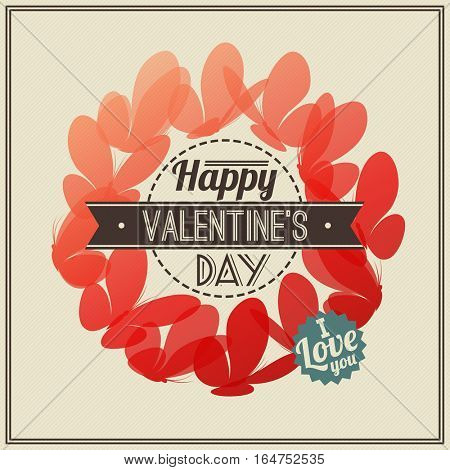 Retro Valentine's Day greeting card with red butterflies- vector illustration