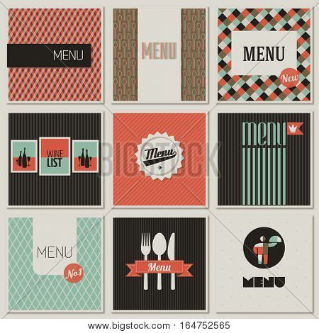 Menu label on a seamless background. Set of retro-styled illustrations.