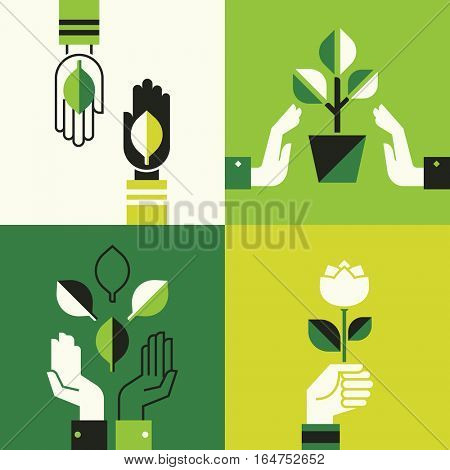 Caring hands holding leaves