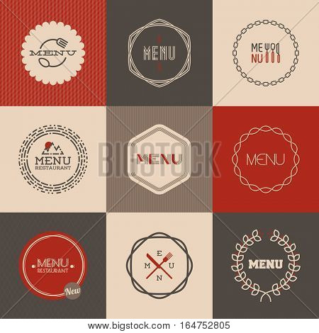 Labels' set for restaurant menu design