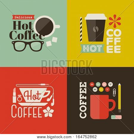 Hot coffee. Collection of design elements