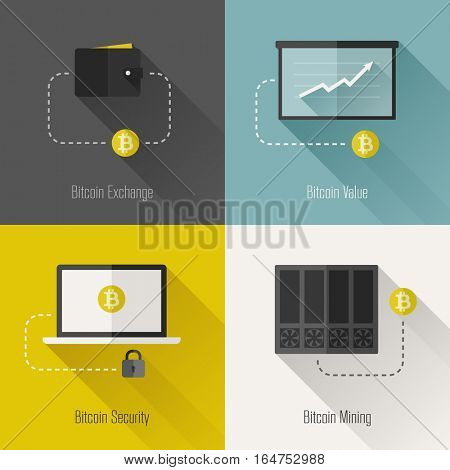 Bitcoin modern flat design elements