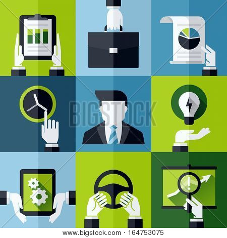 Modern flat vector design elements with hands holding business symbols and tools