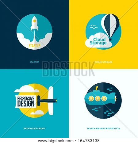 Flat vector design of the startup process, cloud storage, responsive web design and SEO with rocket, hot air balloon, plane and submarine