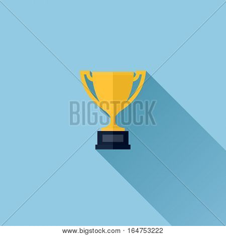 Modern flat vector icon of gold winner trophy cup on blue background