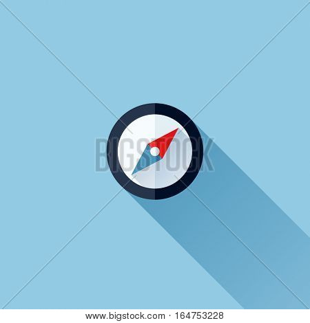 Modern flat vector icon of compass