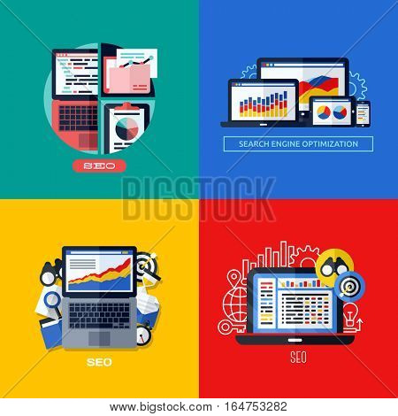 Modern flat vector concepts of search engine optimization (SEO). Icons set for websites, mobile apps and printed materials