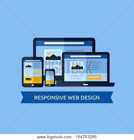 Flat vector concept of responsive web design. Design elements for websites, mobile apps and printed materials