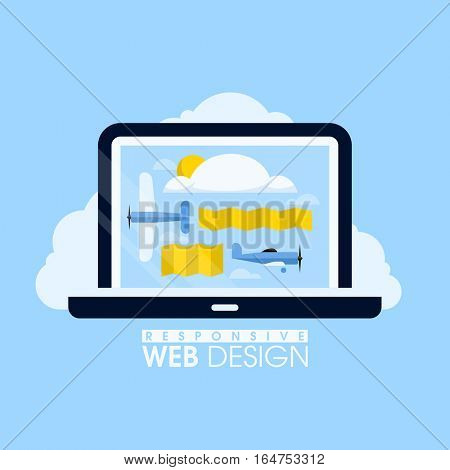 Creative vector concept of responsive web design with planes flying in the sky. Figurative illustration for websites, mobile apps and printed materials