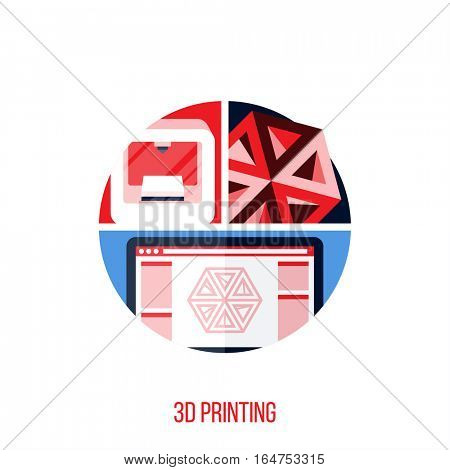 Flat vector concept of 3D printing. Creative design elements for websites, mobile apps and printed materials