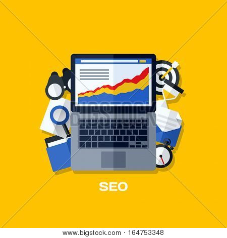 Flat vector concepts of search engine optimization (SEO). Creative design elements for websites, mobile apps and printed materials