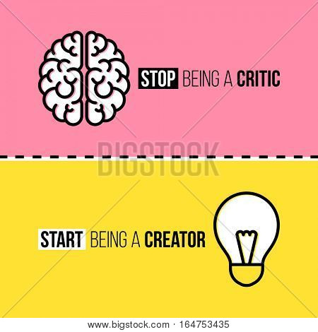 Flat line icons of brain and light bulb. Critic vs. creator concept