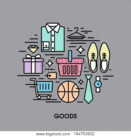 Flat line icons set of shopping goods. Creative design elements