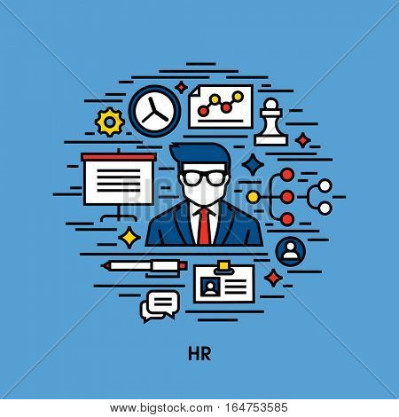 Flat line icons set of Human resources (HR)